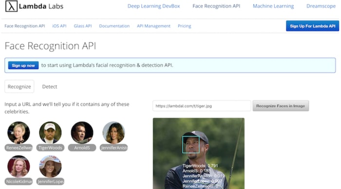 Lambda Labs face recognition API