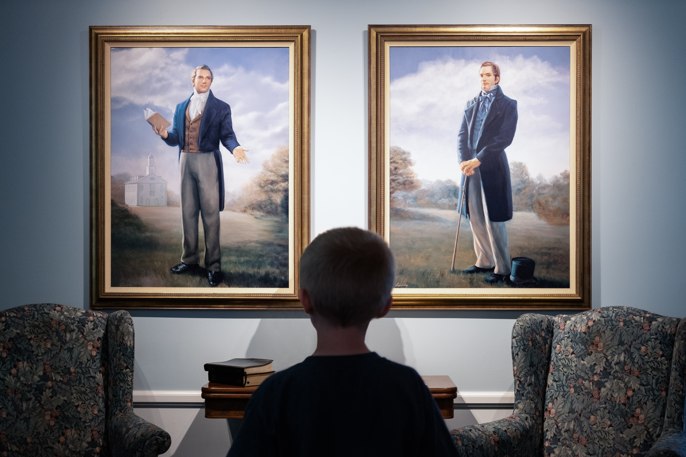 Portraits of Joseph and Hyrum Smith at Carthage Jail Visitor's Center, Carthage, IL, 2019