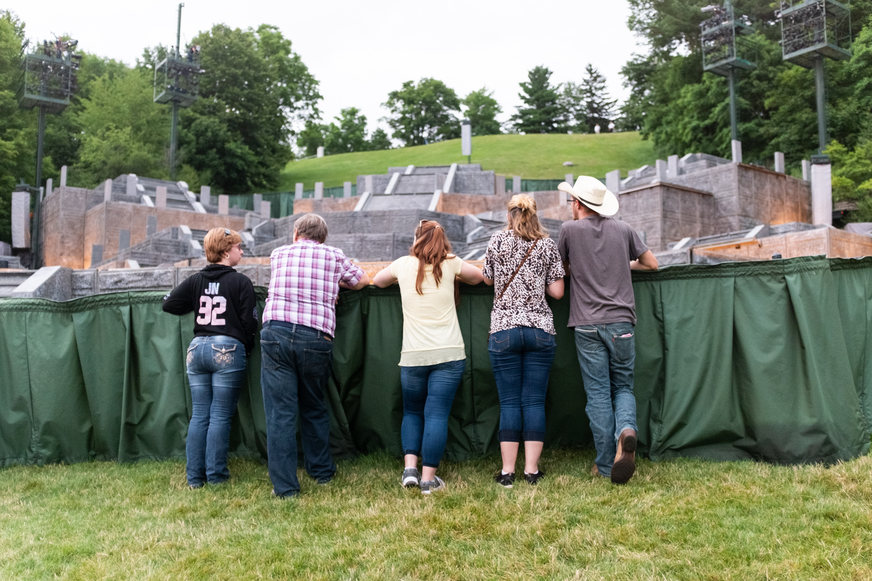 Visitors overlook stage for Hill Cumorah Pagaent before the evening show, Palmyra, NY, 2019