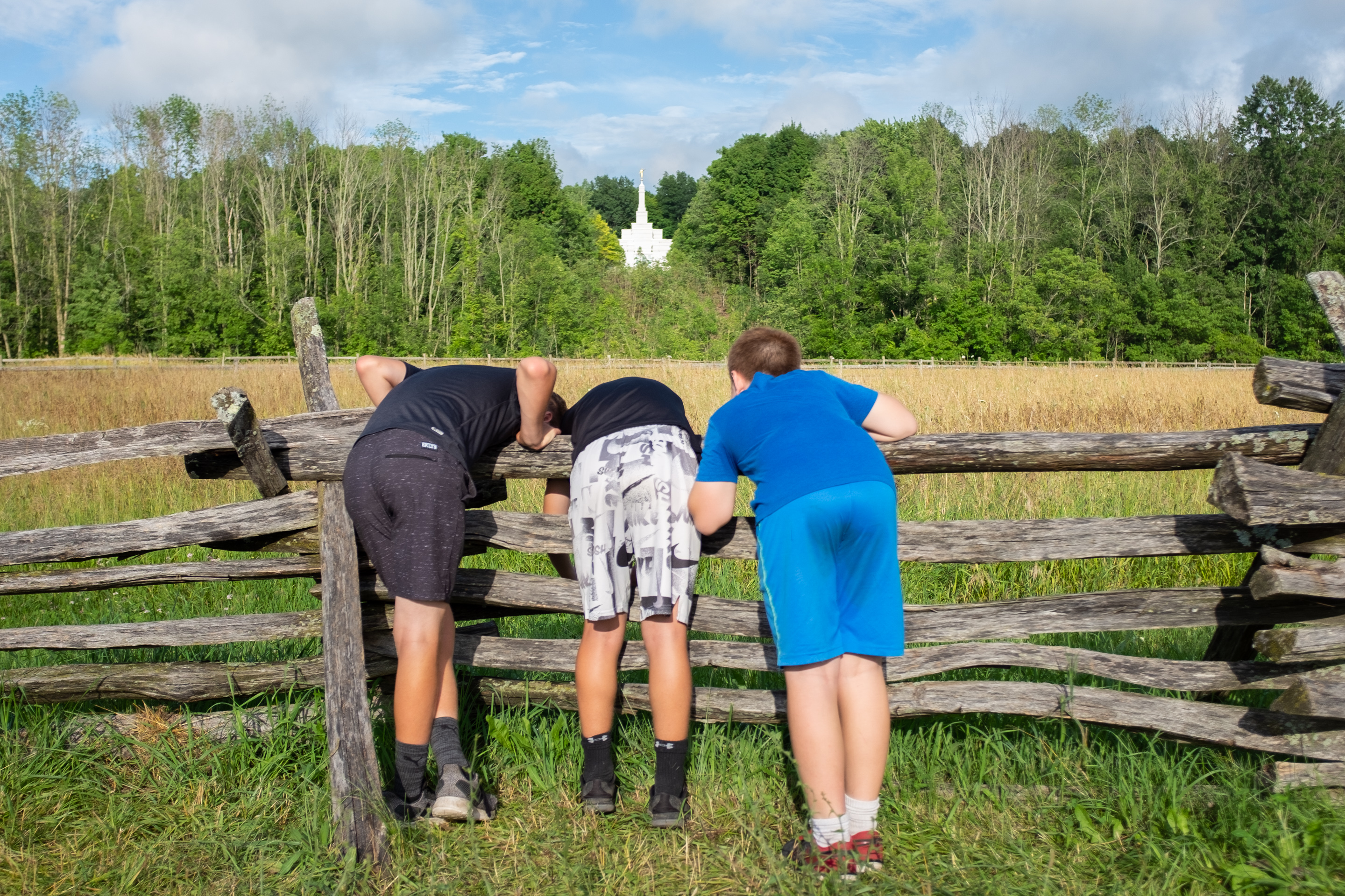 Tourists taking a picture of the Palmyra New York Temple from The Smith Family Farm, 2019