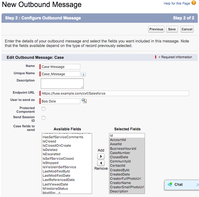 Outbound Message setup step 2