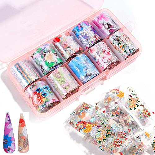Valuu 10 Rolls Flower Nail Art Foil Transfer Stickers Star Laser Nail Foil Adhesive Decals Starry Sky Manicure Transfer Tips Nail Art Diy Decoration Kit