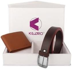 KEZRO Men s Brown Wallet and Formal Belt Combo