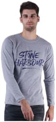 DFH Men Slim fit Round neck Printed T-Shirt - Grey