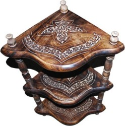Indoart Royal Mango Solid Wood Corner Table (Finish Color - Coffe Brown)