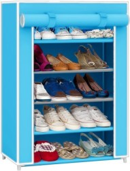 Pindia Fancy Layer Sky Blue Shoe Rack Organizer Polyester Collapsible Shoe Stand(Blue, 5 Shelves)