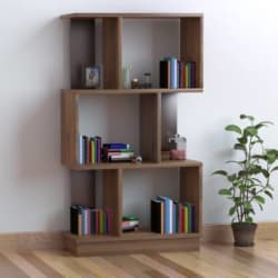 @home by Nilkamal Checkers Engineered Wood Open Book Shelf Finish Color - Walnut