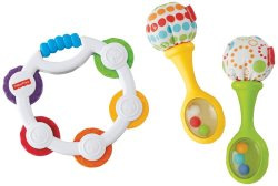 Fisher Price Tambourine and Maracas Gift Set, Multi Color