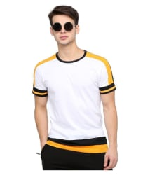 Maniac 100 Percent Cotton White Color Block T-Shirt - Buy Maniac 100 Percent Cotton White Color Block T-Shirt Online at Low Price - Snapdeal.com