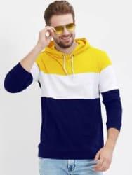 LEWEL Color Block Men Hooded Neck White, Blue, Yellow T-Shirt