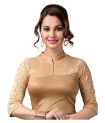 Raja Gold Lycra Readymade without Pad Blouse - Buy Raja Gold Lycra Readymade without Pad Blouse Online at Low Price - Snapdeal.com