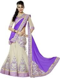 Kamani Garment Embroidered Semi Stitched Lehenga, Choli and Dupatta Set Blue, Beige