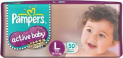 Pampers Active Baby Diapers Large - L(50 Pieces)