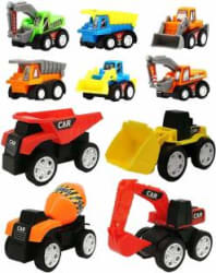 Wishkey 10 Pcs Construction Vehicles Pull Back Toy Cars Playset,Truck Model Kit for Children Toddler Kids Mini Engineering Educational Toys Multicolor, Pack of: 1