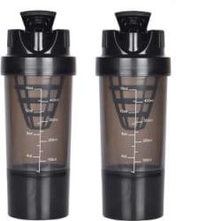 HAANS Shakeit 1000 ml Shaker Pack of 2, Black, Plastic