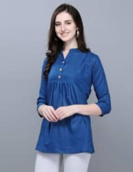 Selvia Casual 3/4 Sleeve Dyed, Solid Women Dark Blue Top