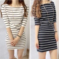 Women Striped Half Sleeve Hip Slim For Party Top Shirt Sexy Black White Dress