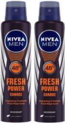 Nivea Men Fresh Power Charge Deodorant Spray - For Men 300 ml, Pack of 2