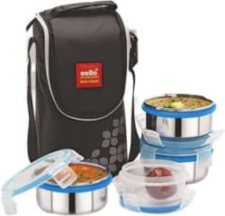 Cello Max Fresh Steel Click 4 Containers Lunch Box 500 ml