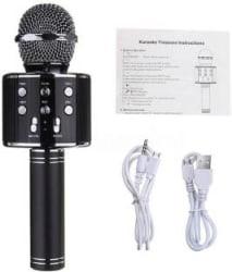 JD WS-858 Wireless Handheld Bluetooth Mic with Speaker (Bluetooth Speaker) Audio Recording and Karaoke Feature Microphone Handheld 858 Black