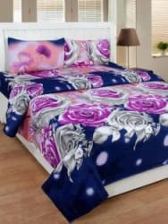 decor home furnishing 144 TC Polycotton Double King Floral Bedsheet Pack of 1, Blue