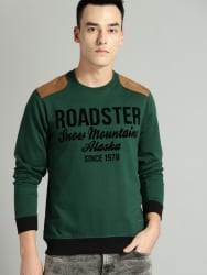 Roadster Men Green & Black Printed Sweatshirt