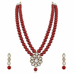 MEENAZ Latest Gold Kundan Pearl Ruby Maang Tikka Necklace Jewellery Sets with Earrings for Women & Girls- NL-305