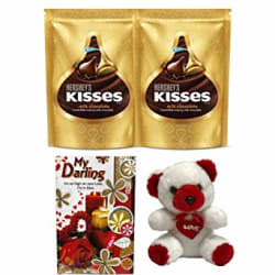 Hershey s Valentines Gift Kisses Milk Chocolate (2 x 100g) with Teddy Bear & Greeting Card