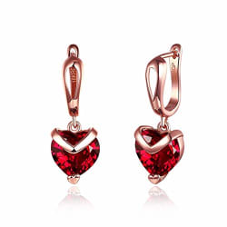 Peora 18K Rose Gold Plated Red Austrian Crystal Stud Earrings For Women Girls