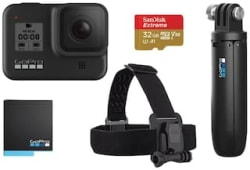GoPro Hero8 Black 12 MP Sports Camera with Holiday Bundle Pack (Head Strap, Shorty, Rechargeable Battery & 32GB Extreme card)