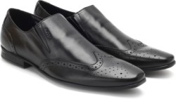 Ruosh Men Genuine Leather Slip On Shoes For Men Black