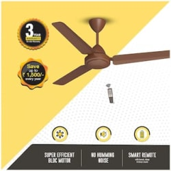 Atomberg Efficio Energy Saving 5 Star Rated with Remote Control and BLDC Motor 1200 mm Decorative Ceiling Fan ( Matte brown , Pack of 1 )