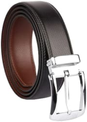IMPERIOR Men Black Leather Belt (Size: Free size , Pack of 1 )