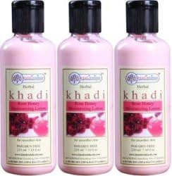 Khadi Rishikesh Herbal Rose Honey Moisturizing Lotion-Pack of 3 630 ml