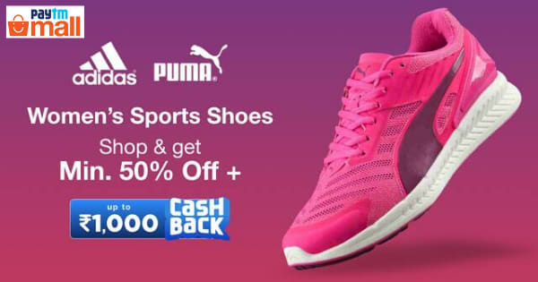 Min 50% Off on Women s Sports Shoes   Rs.1,000 Cashback