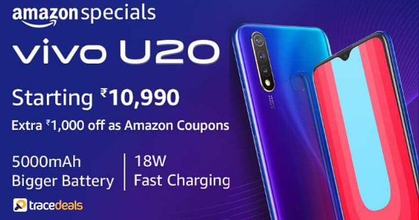 Starting Rs.10,990 Vivo U20   Extra RS.1000 off as Amazon Coupons
