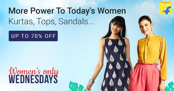 Up to 70% off on Kurtas,Tops, Sandals   WEDNESDAYS   WOMEN S ONLY