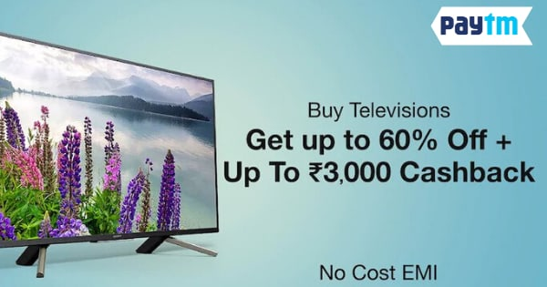 Get Up to 60% off + Up to Rs. 3000 Cashback on Televisiond