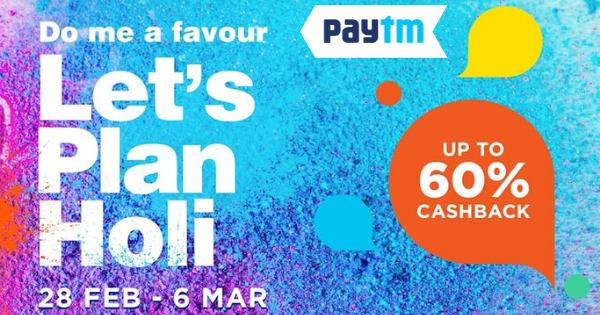 Up to 60% Cashback on Holi Offers