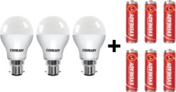 Eveready 10W LED Bulb Pack of 3 with Free 4 Batteries White, Pack of 3