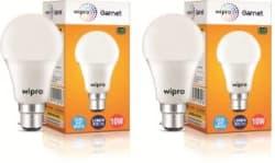 Wipro 10 W Standard B22 LED Bulb White, Pack of 2