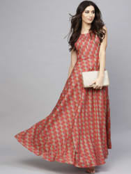 AKS Women Red Printed Maxi Dress