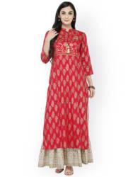 Varanga Women Red & Gold-Toned Printed Straight Kurta
