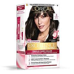 L Oreal Paris Excellence Creme Hair Color, 3 Dark Brown/Natural Darkest Brown, 72ml+100g