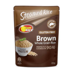 SunRice Brown Microwave Rice 250g (pack of 3)