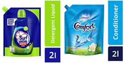 Surf Excel Top Load Matic Liquid Detergent Pouch - 2 L & After Wash Morning Fresh Fabric Conditioner Pouch - 2 L Combo