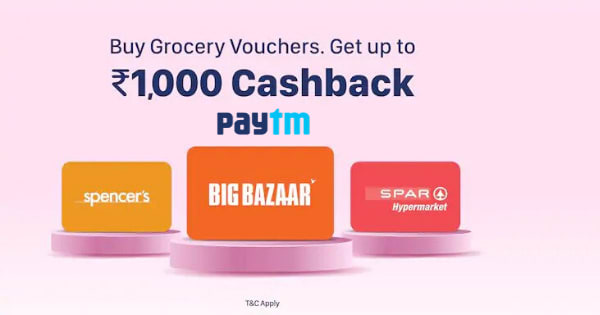 Get Up to Rs. 1000 Cashback on Grocery