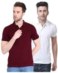 Ketex AND DESIGNS Pack Of 2 Maroon And White Cotton T-Shirt (Size-38)