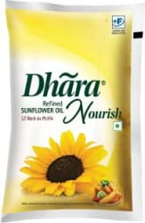 Dhara Refined Sunflower Oil Pouch 1 L