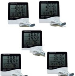 HTC HTC-2 HTC-2 Digital Thermo/Hygrometer Humidity Tester with Clock large 3 line LCD display (PACK of 5 ) Thermometer White